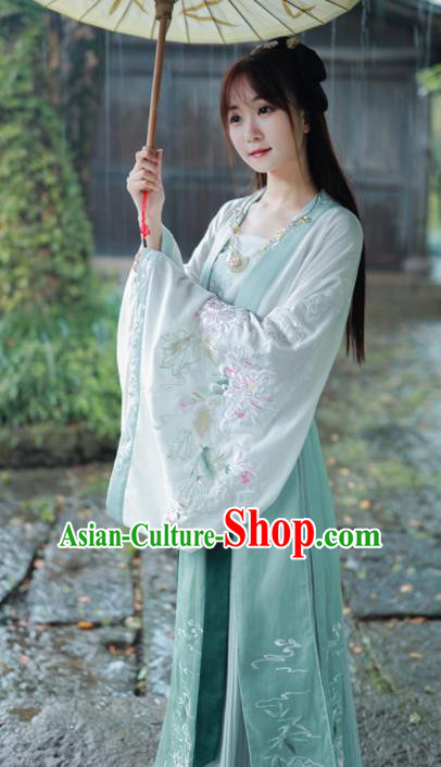 Chinese Tang Dynasty Princess Historical Costume Traditional Ancient Embroidered Hanfu Dress for Women