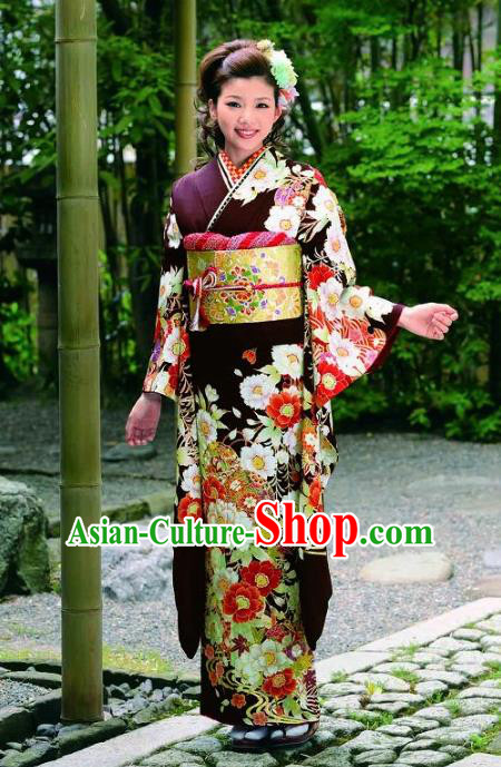 Japanese Traditional Printing Peony Furisode Kimono Asian Japan Costume Geisha Yukata Dress for Women