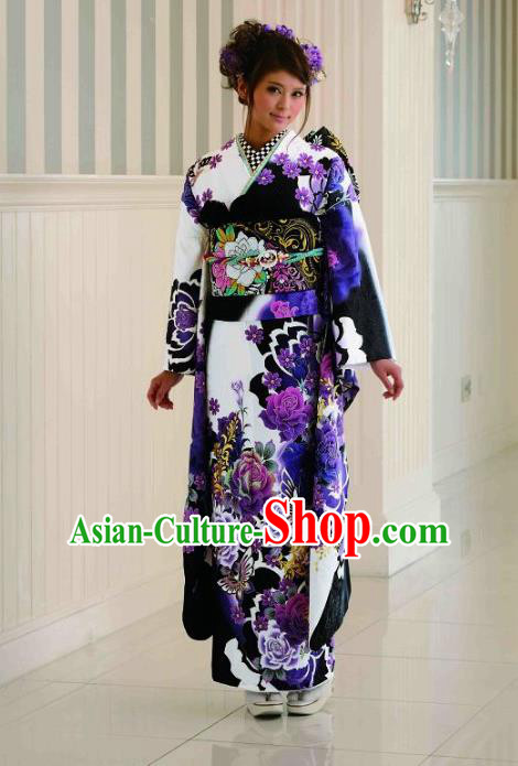 Japanese Traditional Printing Purple Peony Furisode Kimono Asian Japan Costume Geisha Yukata Dress for Women