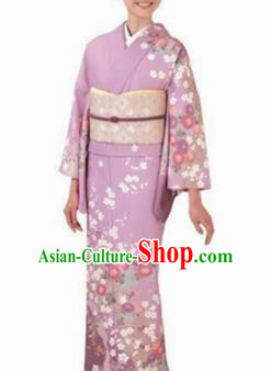 Japanese Traditional Violet Furisode Kimono Asian Japan Costume Geisha Yukata Dress for Women