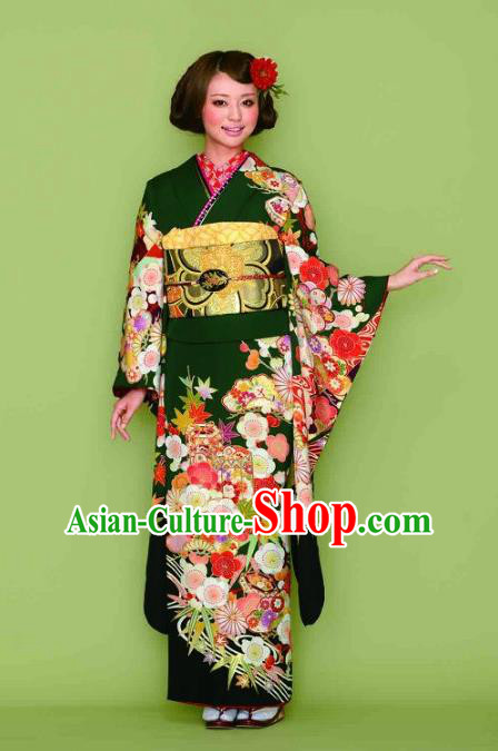 Japanese Traditional Printing Iromuji Atrovirens Furisode Kimono Asian Japan Costume Geisha Yukata Dress for Women