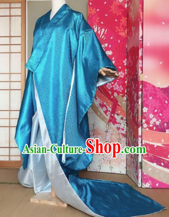 Japanese Traditional Courtesan Blue Furisode Kimono Asian Japan Costume Geisha Yukata Dress for Women