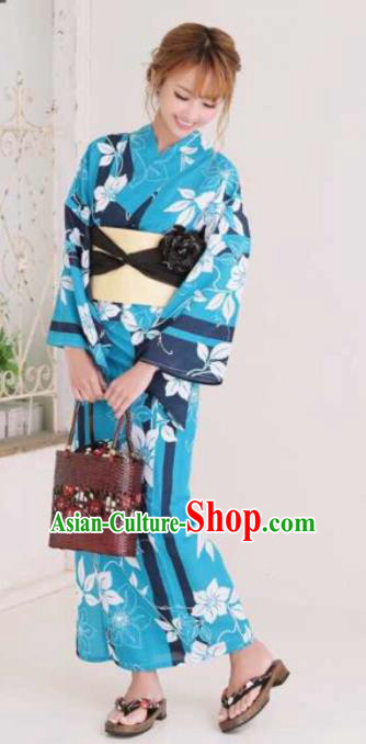 Japanese Traditional Blue Kimono Asian Japan Costume Geisha Yukata Dress for Women