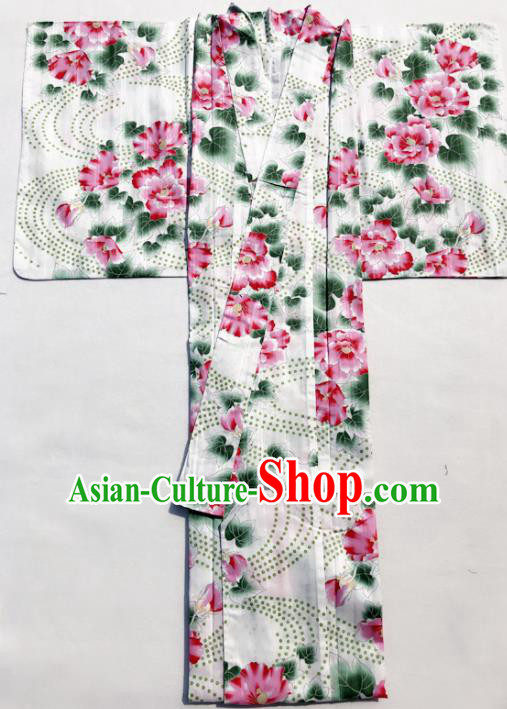 Traditional Japanese Classical Printing Red Peony Kimono Asian Japan Costume Geisha Yukata Dress for Women
