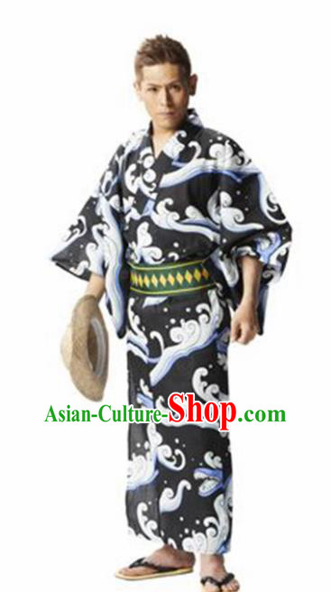 Traditional Japanese Samurai Printing Waves Kimono Asian Japan Handmade Warrior Yukata Costume for Men