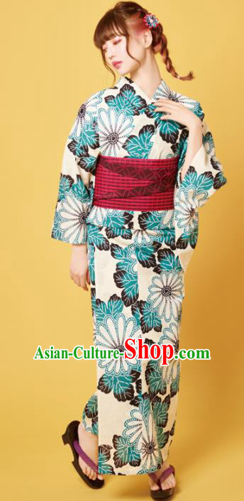 Traditional Japanese Classical Printing Daisy Kimono Asian Japan Costume Geisha Yukata Dress for Women