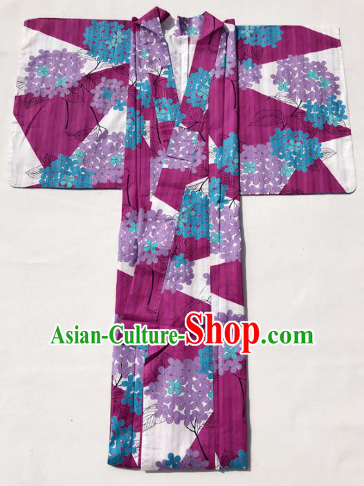 Traditional Japanese Classical Printing Hydrangea Wine Red Kimono Asian Japan Costume Geisha Yukata Dress for Women