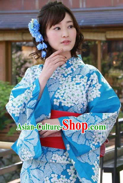 Japanese Classical Printing Hydrangea Blue Kimono Asian Japan Traditional Costume Geisha Yukata Dress for Women