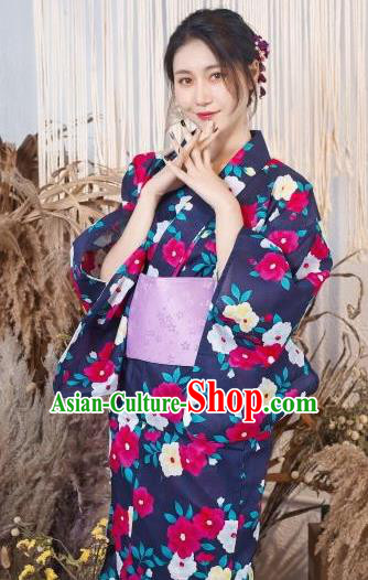 Japanese Traditional Classical Printing Deep Purple Kimono Asian Japan Costume Geisha Yukata Dress for Women