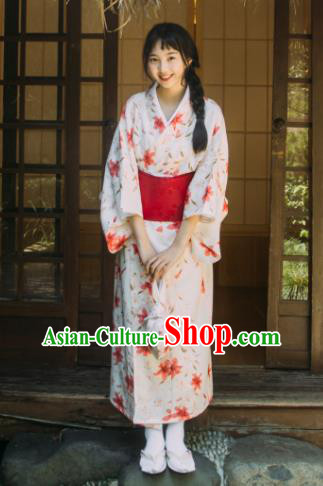Traditional Japanese Classical Printing Red Lily Flowers Kimono Asian Japan Costume Geisha Yukata Dress for Women