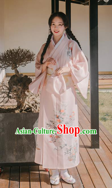 Traditional Japanese Classical Printing Orchid Pink Kimono Asian Japan Costume Geisha Yukata Dress for Women