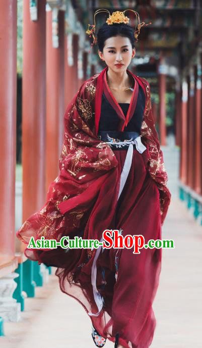 Ancient Chinese Tang Dynasty Princess Historical Costume Traditional Wedding Embroidered Hanfu Dress for Women