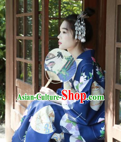 Japanese Classical Printing Fan Navy Kimono Asian Japan Traditional Costume Geisha Yukata Dress for Women