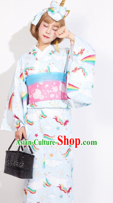 Japanese Classical Printing Rainbow Blue Yukata Dress Asian Japan Traditional Costume Geisha Kimono for Women