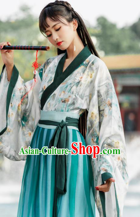 Ancient Chinese Jin Dynasty Princess Historical Costume Traditional Palace Dance Green Hanfu Dress for Women