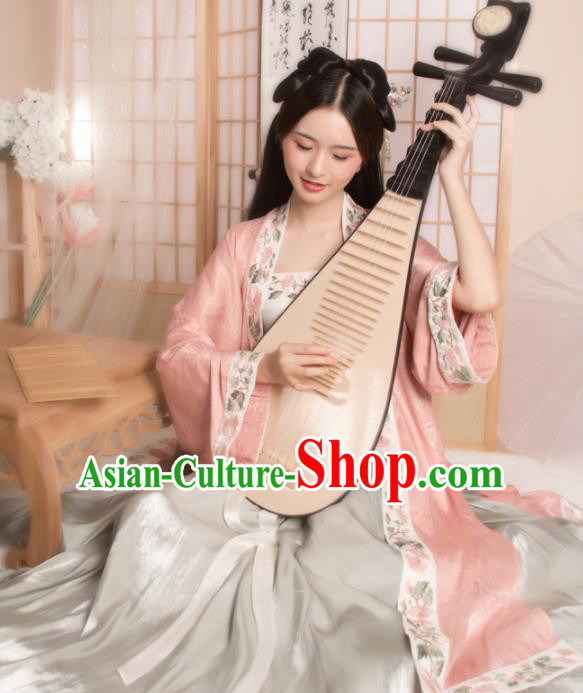 Ancient Chinese Song Dynasty Courtesan Historical Costume Traditional Nobility Lady Embroidered Pink Hanfu Dress for Women