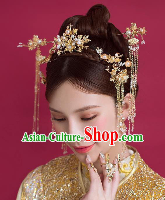 Traditional Chinese Ancient Bride Hair Comb Tassel Hairpins Handmade Wedding Hair Accessories for Women
