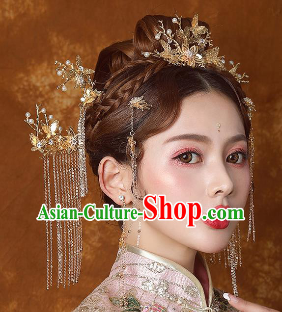 Traditional Chinese Ancient Bride Tassel Hairpins Golden Hair Comb Handmade Wedding Hair Accessories for Women