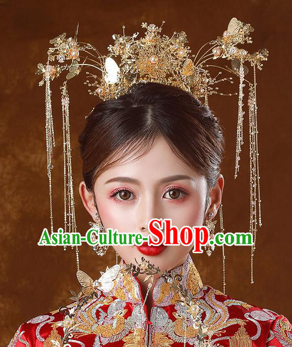 Traditional Chinese Ancient Bride Tassel Hairpins Golden Butterfly Phoenix Coronet Handmade Wedding Hair Accessories for Women