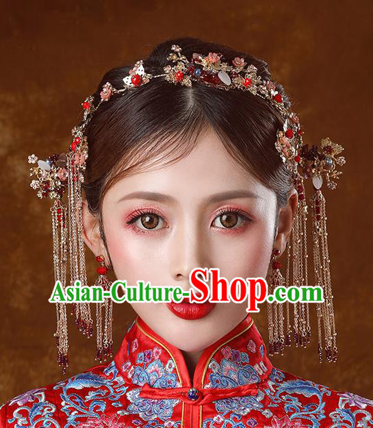 Traditional Chinese Ancient Bride Tassel Hairpins Hair Clasp Handmade Wedding Hair Accessories for Women