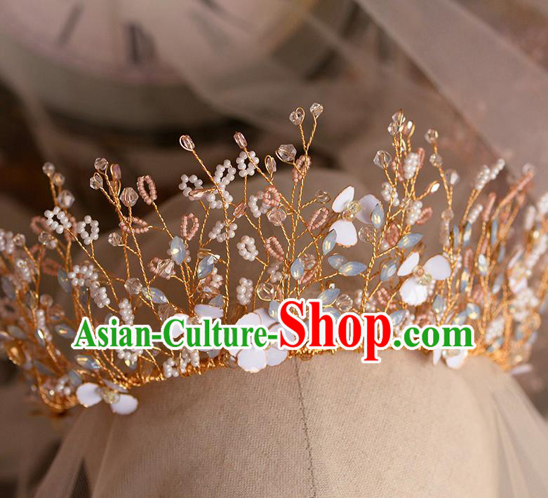 Handmade Wedding Hair Accessories Baroque Bride Beads Flowers Royal Crown for Women