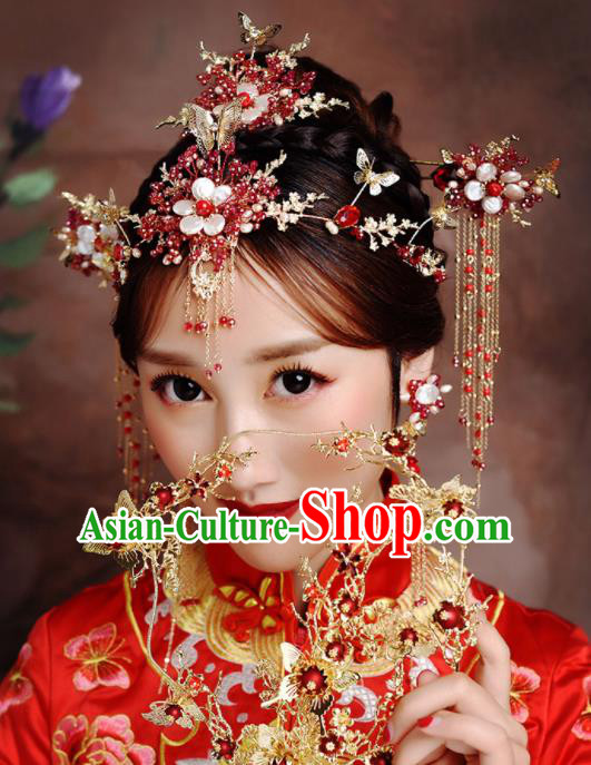 Traditional Chinese Ancient Bride Hairpins Tassel Hair Clasp Handmade Wedding Hair Accessories for Women