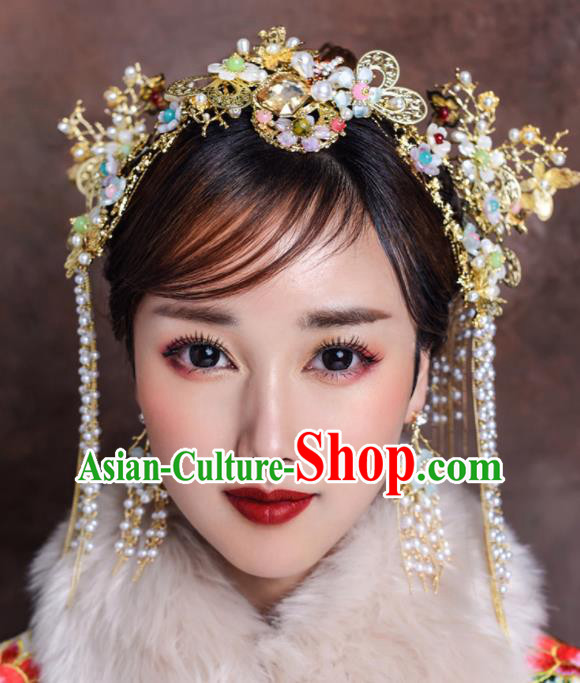 Traditional Chinese Ancient Bride Hairpins Tassel Hair Comb Handmade Wedding Hair Accessories for Women
