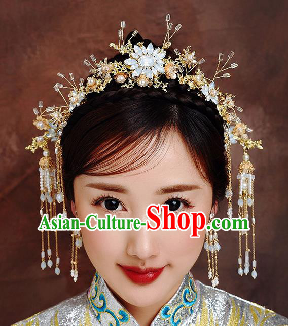 Traditional Chinese Ancient Bride Hairpins Tassel Opal Hair Clasp Handmade Wedding Hair Accessories for Women