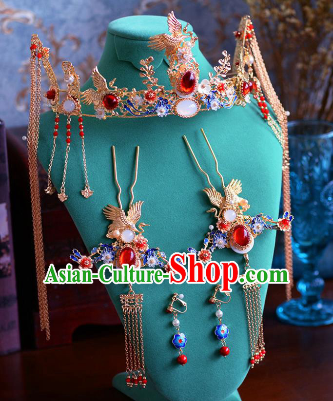 Traditional Chinese Ancient Agate Crane Phoenix Coronet Bride Hairpins Handmade Wedding Hair Accessories for Women