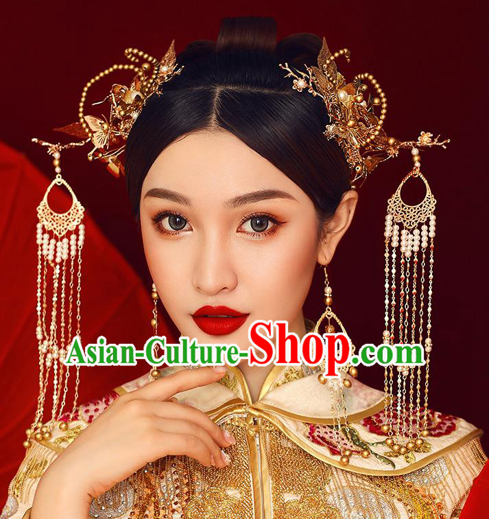Traditional Chinese Ancient Hanfu Golden Tassel Hair Clasp Bride Hairpins Handmade Wedding Hair Accessories for Women