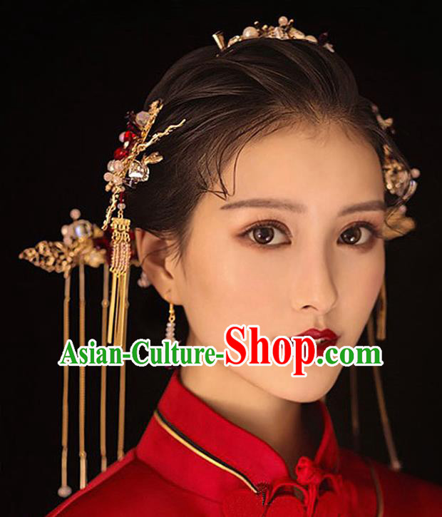 Traditional Chinese Ancient Hanfu Hair Comb Bride Hairpins Handmade Wedding Hair Accessories for Women