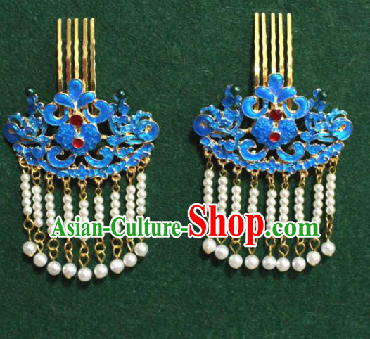 Traditional Chinese Ancient Palace Cloisonne Hair Clip Tassel Hairpins Handmade Wedding Hair Accessories for Women