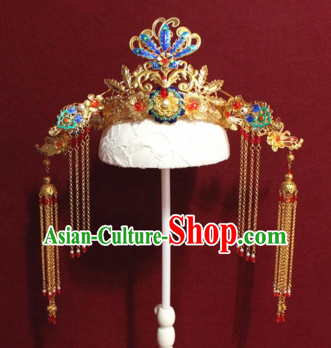 Traditional Chinese Ancient Queen Hanfu Cloisonne Phoenix Coronet Bride Hairpins Handmade Wedding Hair Accessories for Women