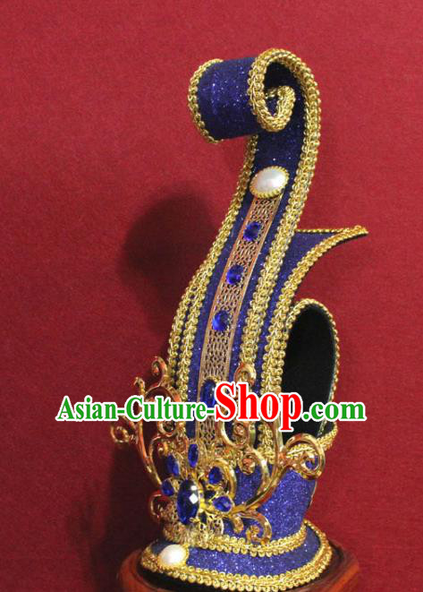 Traditional Chinese Ancient Prince Blue Hairdo Crown Handmade Nobility Childe Hat Swordsman Hair Accessories for Men
