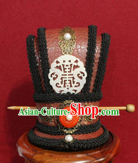 Traditional Chinese Ancient Prince Jade Hairdo Crown Handmade Nobility Childe Hat Swordsman Hair Accessories for Men