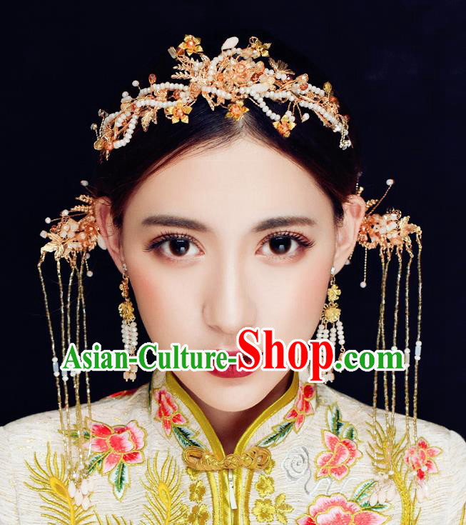 Traditional Chinese Ancient Hanfu Hair Crown Bride Hairpins Handmade Wedding Hair Accessories for Women