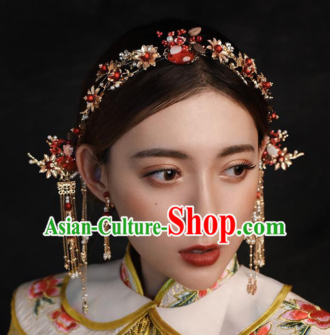 Traditional Chinese Ancient Hanfu Tassel Hair Clasp Bride Hairpins Handmade Wedding Hair Accessories for Women
