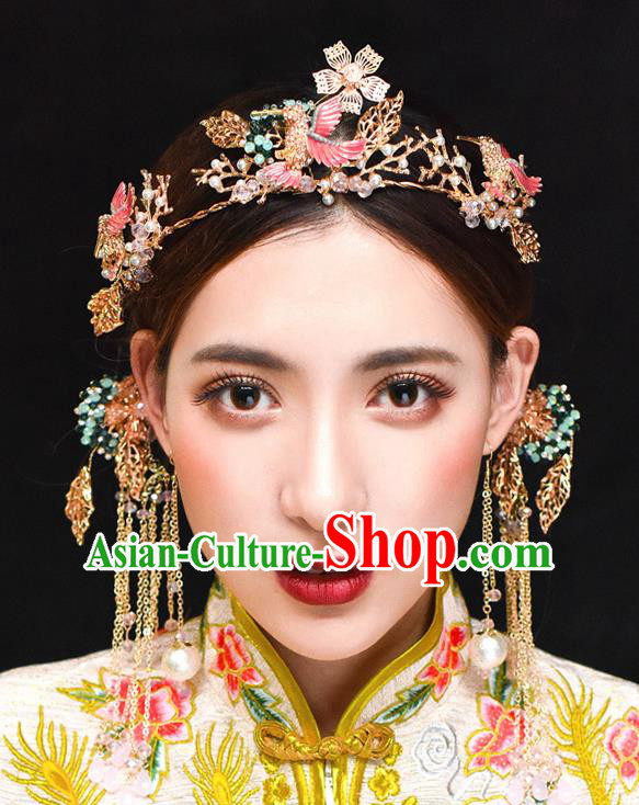 Traditional Chinese Ancient Hanfu Pink Woodpecker Hair Clasp Bride Hairpins Handmade Wedding Hair Accessories for Women