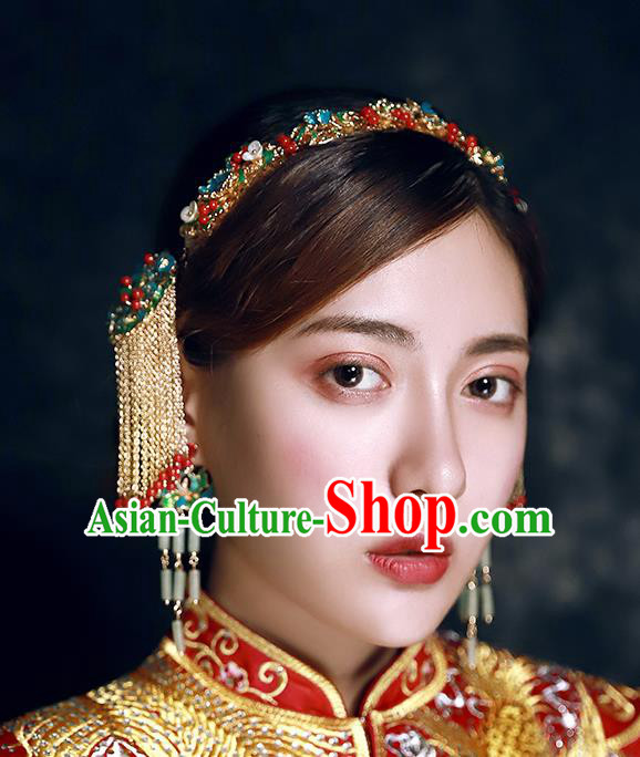 Traditional Chinese Ancient Hanfu Cloisonne Hair Clasp Bride Hairpins Handmade Wedding Hair Accessories for Women