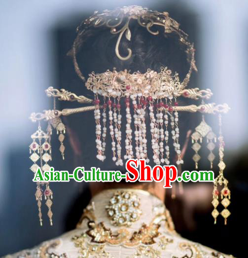 Traditional Chinese Ancient Bride Tassel Hair Crown Hairpins Handmade Wedding Hair Accessories for Women