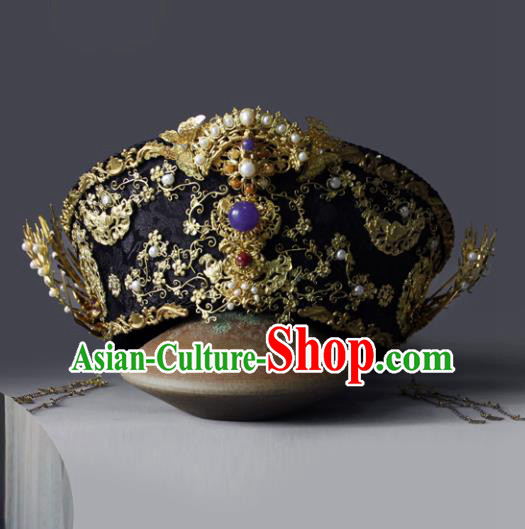 Traditional Chinese Ancient Qing Dynasty Queen Hat Phoenix Coronet Hairpins Handmade Wedding Hair Accessories for Women