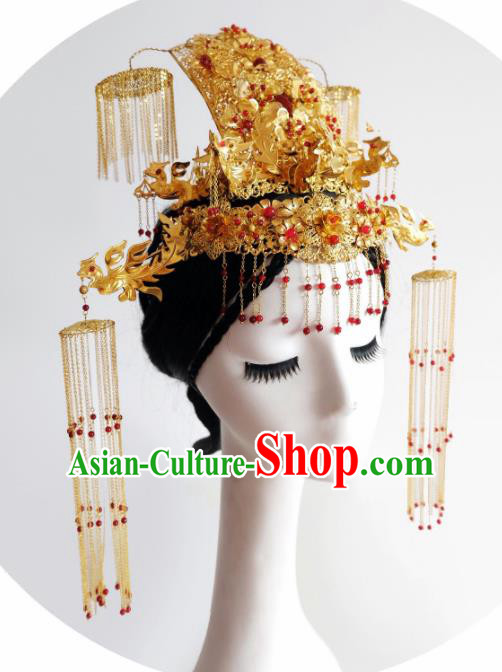 Traditional Chinese Ancient Queen Phoenix Coronet Hairpins Handmade Wedding Hair Accessories for Women