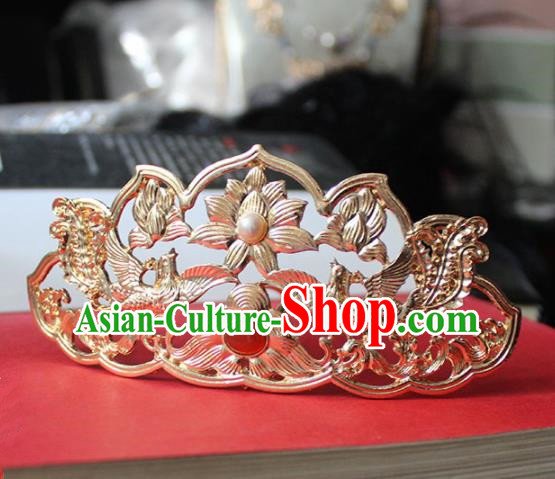 Traditional Chinese Ancient Princess Agate Golden Hair Crown Hairpins Handmade Hanfu Hair Accessories for Women