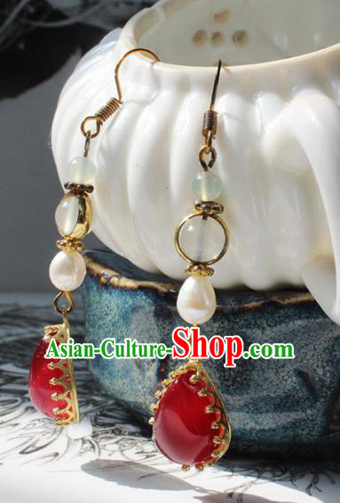 Handmade Chinese Ancient Princess Pearl Red Crystal Earrings Traditional Hanfu Jewelry Accessories for Women