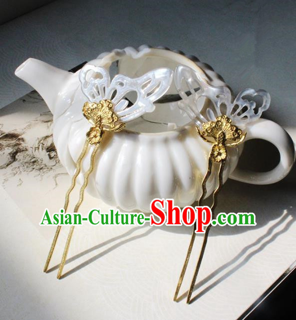 Traditional Chinese Ancient Shell Butterfly Hair Clip Princess Hairpins Handmade Hanfu Hair Accessories for Women