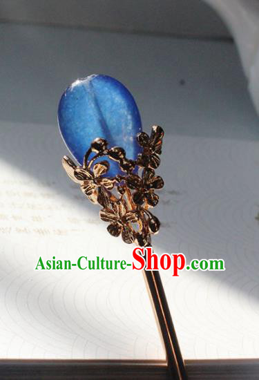 Traditional Chinese Ancient Hanfu Blue Stone Hair Clip Princess Hairpins Handmade Hair Accessories for Women