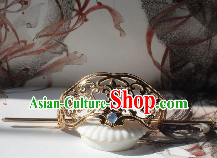 Traditional Chinese Ancient Hanfu Golden Hair Crown Princess Hairpins Handmade Hair Accessories for Women