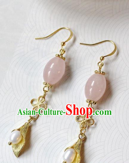 Handmade Chinese Ancient Princess Rose Chalcedony Earrings Traditional Hanfu Jewelry Accessories for Women