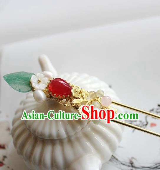 Traditional Chinese Ancient Hanfu Red Chalcedony Hair Clip Princess Hairpins Handmade Hair Accessories for Women