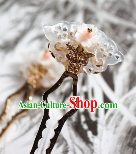 Traditional Chinese Ancient Hanfu Shell Butterfly Hair Clip Princess Hairpins Handmade Hair Accessories for Women